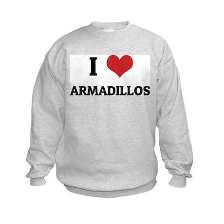 I Love Armadillos Kids Sweatshirt