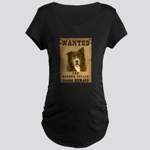 """Wanted"" Border Collie Maternity Dark T-Shirt"