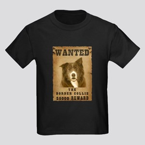 """Wanted"" Border Collie Kids Dark T-Shirt"