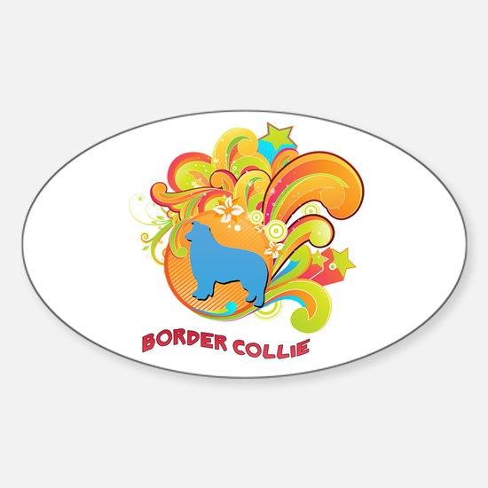 Groovy Border Collie Oval Decal