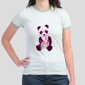 Breast Cancer Panda Bear Jr. Ringer T-Shirt