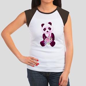 Breast Cancer Panda Bear Women's Cap Sleeve T-Shir