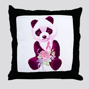Breast Cancer Panda Bear Throw Pillow