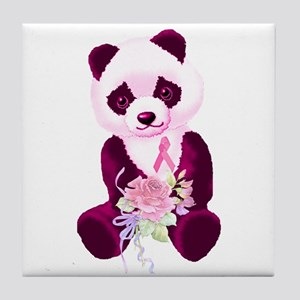 Breast Cancer Panda Bear Tile Coaster