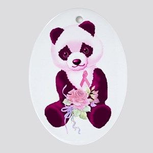 Breast Cancer Panda Bear Oval Ornament