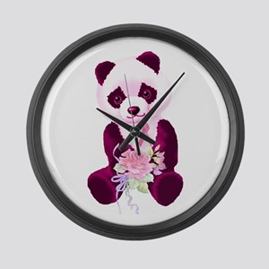 Breast Cancer Panda Bear Large Wall Clock