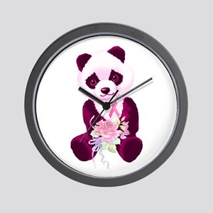 Breast Cancer Panda Bear Wall Clock
