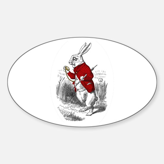"The White Rabbit ""I'm Late"" Oval Decal"