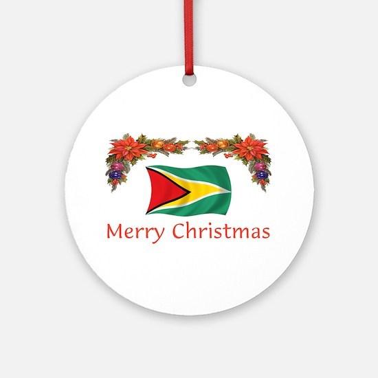 Guyana-Merry Christmas Ornament (Round)