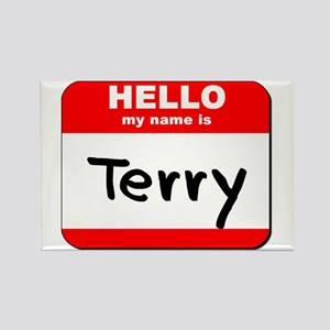 Hello my name is Terry Rectangle Magnet