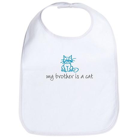 My brother is a cat - blue Bib