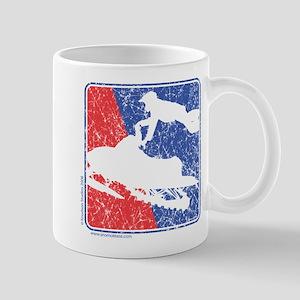 Red White and Blue Sledder Distressed Mug