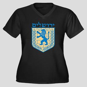 Jerusalem Emblem Women's Plus Size V-Neck Dark T-S