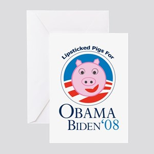 Lipstick on a Pig for Obama Greeting Cards (Pk of