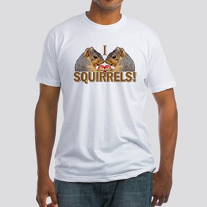 I Heart / Love Squirrels! Fitted T-Shirt