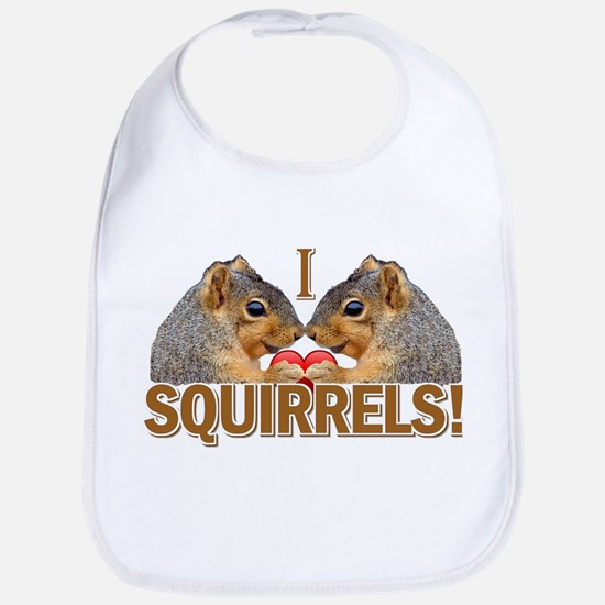 I Heart / Love Squirrels! Bib