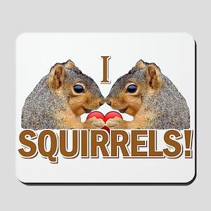 I Heart / Love Squirrels! Mousepad