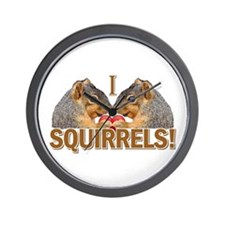 I Heart / Love Squirrels! Wall Clock
