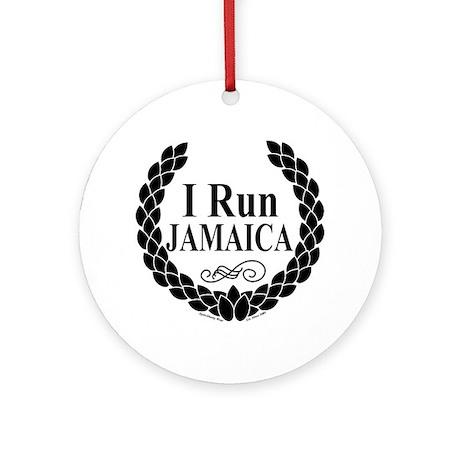 I Run Jamaica Black & White Ornament (Round)