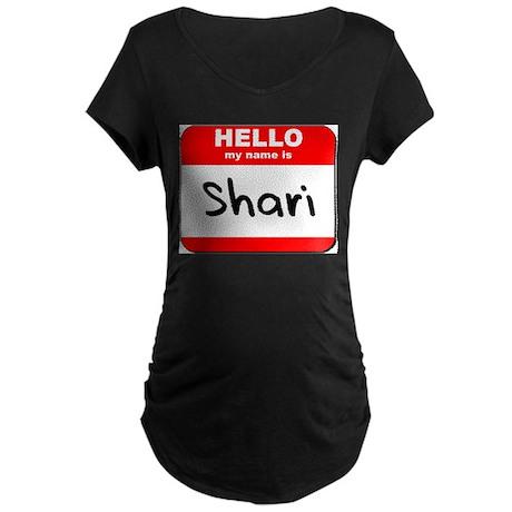 Hello my name is Shari Maternity Dark T-Shirt
