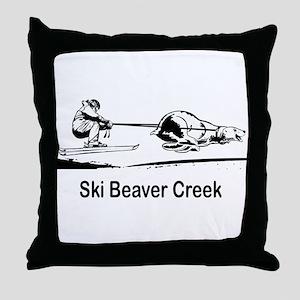 Ski Beaver Creek CO Throw Pillow