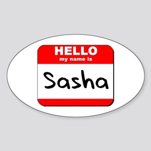 Hello my name is Sasha Oval Sticker