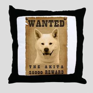 """""""Wanted"""" Akita Throw Pillow"""