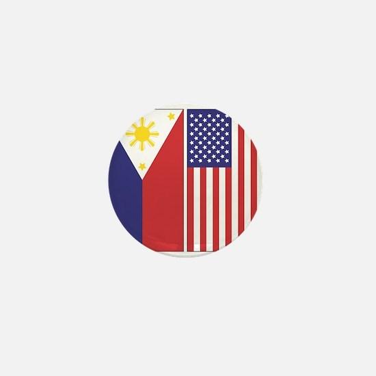 Philippine Flag & US Flag Mini Button