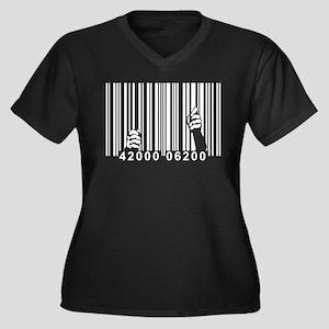 UPC Prison Women's Plus Size V-Neck Dark T-Shirt