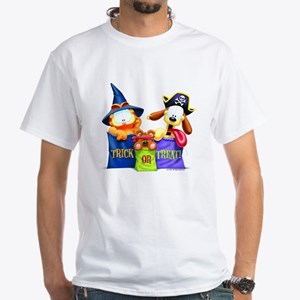 Garfield Trick or Treat White T-Shirt