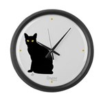 Kitty Kind Black Cat Silhouette Large Wall Clock