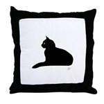 Kitty Kind Black Cat Silhouette Throw Pillow