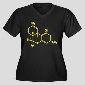 THC Molecule - Yellow Women's Plus Size V-Neck Dar