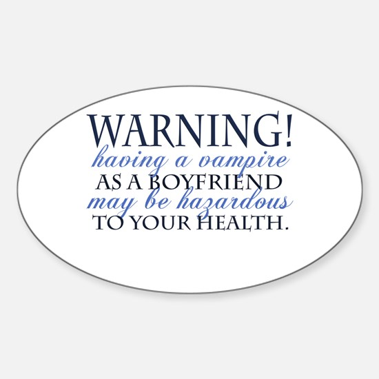 Warning! blue Oval Decal