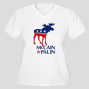 McCain Palin Moose Women's Plus Size V-Neck T-Shir