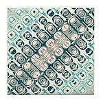 Turquoise Tile Pattern Tile Coaster