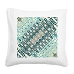 Turquoise Tile Pattern Square Canvas Pillow