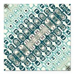 Turquoise Tile Pattern Square Car Magnet 3