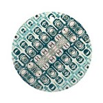 Turquoise Tile Pattern Round Ornament