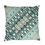 Turquoise Tile Pattern Everyday Pillow