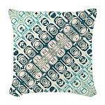 Turquoise Tile Pattern Woven Throw Pillow