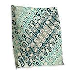 Turquoise Tile Pattern Burlap Throw Pillow