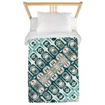Turquoise Tile Pattern Twin Duvet Cover