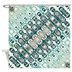 Turquoise Tile Pattern Shower Curtain