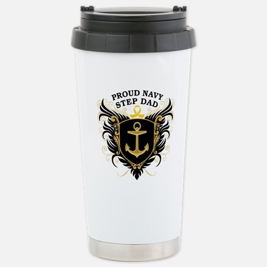 Proud Navy Step Dad Stainless Steel Travel Mug