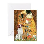 Kiss/Brittany Spaniel Greeting Card