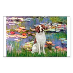 Lilies 2/Brittany Spaniel Sticker (Rectangle)