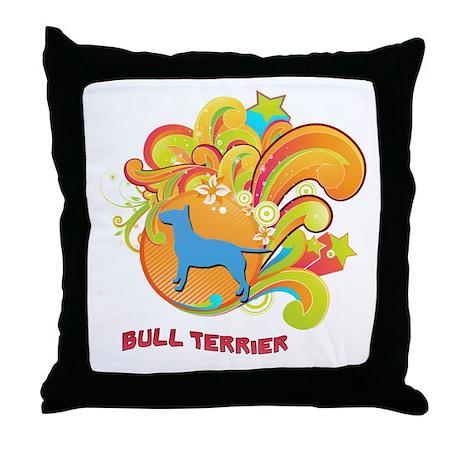 Groovy Bull Terrier Throw Pillow