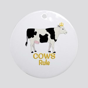Cows Rule Golden Crown Round Ornament