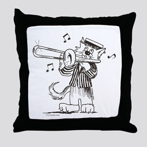 Catoons trombone cat Throw Pillow
